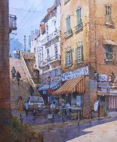 "Ian Ramsay Watercolors Roman Steps 12"" x 10"" image watercolor"