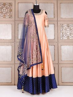 Shop Silk wedding anarkali suit in peach color online from India. Indian Attire, Indian Wear, Indian Outfits, Indian Gowns Dresses, Pakistani Dresses, Ethnic Fashion, Indian Fashion, Mode Bollywood, Anarkali Dress
