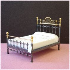 Reutter - Metal Double Bed - 1.827/0 | Dolls Houses | Dolls House Furniture | Dollshouse Miniature | Dollhouse Lights | Childrens Dolls Houses & Accessories | Sussex.