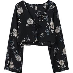 Cropped Floral Blouse Black ($20) ❤ liked on Polyvore featuring tops, blouses, shirts, shirt top, cropped tops, flower print crop top, flower print shirt and shirt blouse