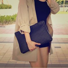 Women black envelope clutch bag Beautiful black PU leather bag.  Brand new without tag. Bags Clutches & Wristlets