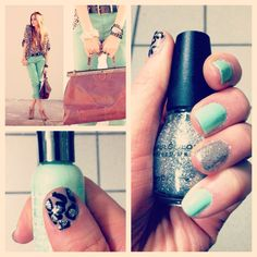 Leopard and mint nails