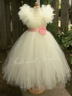 Ivory Flower Girl Tutu Dress with Light Pink Flower Sash and Sleeves Great Party Dress, Birthdays. Other Colors Available for Dress and Sash...