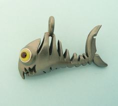 fishbone pendant, fish necklace, silver(oxydised) and handmade glass-eyes, custom made in germany,$235