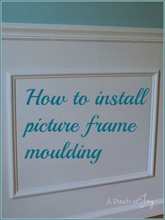 How to install picture frame moulding from A Pinch of Joy.  Takes a room from boxy and boring to interesting in one weekend!