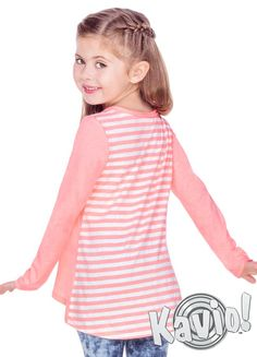 Contrast Mini Striped Back High Low Long Sleeve (Sizes Long Sleeve Tops, Long Sleeve Shirts, Jeggings, High Low, Zip Ups, Contrast, Stripes, Mini, Girls