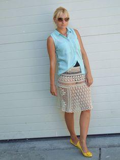 Beige skirt cotton crochet skirt lace summer skirts by TaramayKnit
