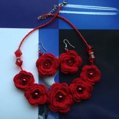 Hand - crocheted red rose necklace and earnings Handcrafted red fashion earrings , , Unique with its own originality. Give a statement to your style. Turn your everyday outfit into something beyond fabulous. Gorgeous color, lightweight, and comfortable. Size can be regulated , flowers size are  4 - 3 cm  If yo are interested in other colors, please feel free to contact me.  Super cute, fun, comfortable to wear, it will provide that look, and there are no duplicates, you will be the only one…