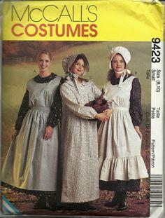 Misses Dress Apron & Bonnet Pioneer Costume by TudorHouseTreasures