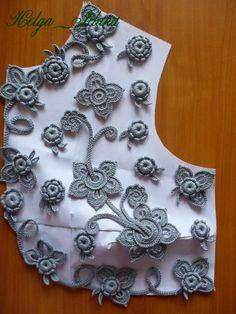 Болеро № 85 выполнено на заказ в Англию. 48 размер, рукав 3/4, пряжа виолет, канарис. Freeform Crochet, Crochet Motif, Crochet Flowers, Crochet Lace, Crochet Doilies, Crochet Butterfly Free Pattern, Crochet Leaf Patterns, Crochet Designs, Irish Crochet Tutorial
