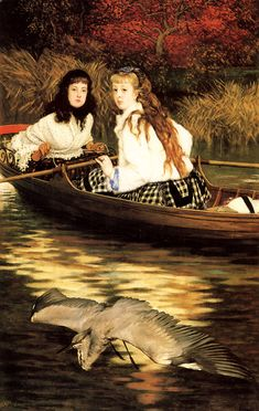 "James Tissot -  ""On the Thames. A Heron"" 1871-72, oil on canvas, Dimensions	92.7 × 60.3 cm (36.5 × 23.7 in), Current location: Minneapolis Institute of Art."
