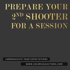 Preparing a 2nd Shooter for an Upcoming Event - Photographing weddings is hard work! Spend the day focused on your client and not worried about what your 2nd shooter is doing. Get Colorvale's Free 2nd Shooter Expectations Document and get on the same page - http://www.colorvaleactions.com/blog/preparing-a-2nd-shooter-for-an-upcoming-event/