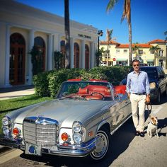 #Repost @alexander.kraft  Back in paradise: Love Palm Beach and its vintage cars... #palmbeach #vintage #mercedes #280se #convertible #casual #elegance #menswear #mensstyle #mensfashion #car #voiture #dog #jackrussell #terrier #travel #luxury #lifestyle #stubbsandwootton
