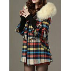 $35.99 Modern Style Horns Buckle Color Block 3/4 Sleeves Worsted Checked Women's Coat