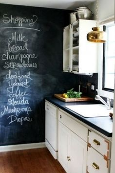 A chalkboard wall in your kitchen is a great place to write your grocery list. If I ever get my own apartment or house, I will totally put a chalkboard wall in my kitchen! Such a good idea! Küchen Design, House Design, Design Ideas, Nest Design, Design Blogs, Floor Design, Layout Design, Blackboard Wall, Chalk Wall