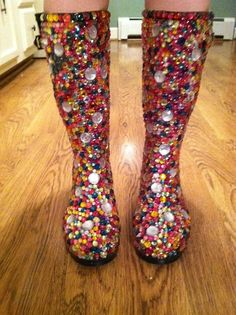Rain boots. If I had a pair of Rain Boots and they were not blinged-out I would definitely bling them out!