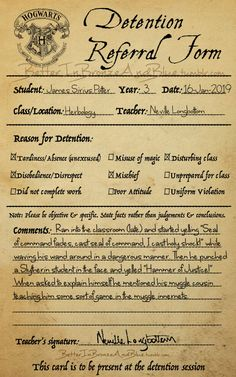 """Comments: Ran into the classroom (late) and started yelling """"Seal of command fades, cast seal of command, I cast holy shock!"""" while waving his wand around in a dangerous manner. Then he punched a Slytherin student in the face and yelled """"Hammer of Justice!""""When asked to explain himself he mentioned his muggle cousin teaching him some sort of game in the muggle innernets. Neville Longbottom"""