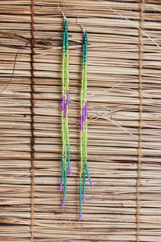 "7""Long Seed Beaded Tassel Earrings~Long Shoulder Dusters Bohemian Style~Native Inspired Dangle Seed Bead~Extra Long BOHO Chic~Green Purple by…"