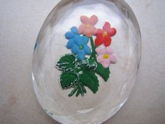 Vintage intaglio cab  flowers  glass crystal reverse painted German facted carved  floral etched cab  30 x 40 mm (1)