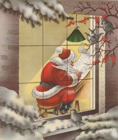 Front of Card: Santa Claus writes a list, seen through a window with old fashioned light and birds watching from outside. Christmas Card Images, Vintage Christmas Images, Old Fashioned Christmas, Christmas Scenes, Christmas Past, Very Merry Christmas, Retro Christmas, Christmas Greeting Cards, Christmas Pictures