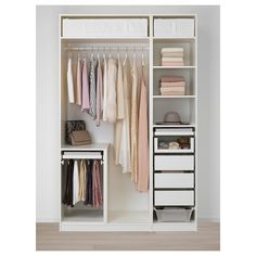 PAX Wardrobe, white, Tyssedal white, This wardrobe combination is just as good looking on the outside as it is clever on the inside. Wardrobe Small Bedroom, Closet Ideas For Small Spaces Bedroom, Small Closet Design, Ikea Pax Wardrobe, Small Closet Space, Bedroom Closets, Wardrobe Room, Tiny Closet, Bedroom Closet Design
