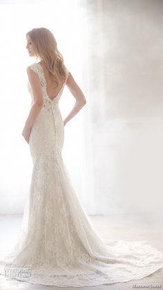 Madison James Bridal Fall 2015 Wedding Dresses | Wedding Inspirasi | Pretty Lace Column/Sheath Bridal Gown With V Neckline & V Cut Back, Court+ Length Train<<<<