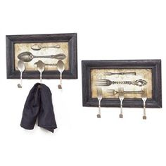Country Bistro Framed Fork & Spoon Wall Plaques