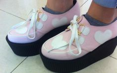 Sweet pastel heart creeper shoes.    Comes in USA Shoe sizes.  Comes in black & pink please specify at checkout.