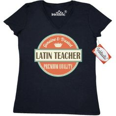 Inktastic Latin Teacher Funny Gift Idea Women's V-Neck T-Shirt Retired Occupations Job Vintage Logo Clothing Apparel Career Tees Adult Hws, Size: Large, Black