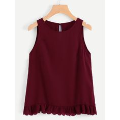 SheIn(sheinside) Scallop Ruffle Hem Buttoned Keyhole Back Shell Top (65 GTQ) via Polyvore featuring tops, burgundy, button top, scallop top, embellished sleeveless tops, scallop edge top y embellished collar top