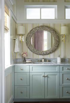 coastal bathroom design | blue vanity in SW Quietude #paint