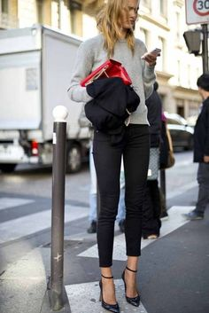 //Winter style // grey pullover sweater + skinny black pants