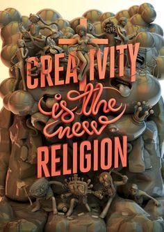 """CREATIVITY IS THE NEW RELIGION - """"A Criatividade é a nova Religião"""" é um poster em tamanho A1 que representa o Paraíso, o Purgatório e o Inferno de cada artista que quer espalhar sua arte por aí."""
