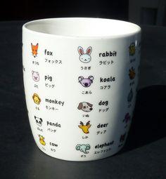 Learn Japanese Tea Coffee Mug Cartoon Animal Translation by Luxina