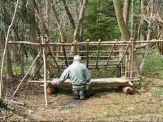 ▶ bushcraft survival long term wilderness shelter patr 4 of 7 making a raised sack bed.wmv - YouTube