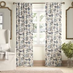 Birch Lane™ Heritage Jessamy Floral/Flower Blackout Thermal Rod Pocket Single Curtain Panel Size per Panel: x Curtain Color: Blue Rod Pocket Curtains, Grommet Curtains, Hanging Curtains, Drapes Curtains, Curtain Panels, Curtains Yellow Walls, Mustard Yellow Walls, Striped Room, Quartos
