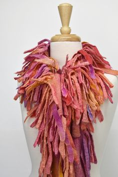 Wool Felted Nuno Scarf Boa Wrap Chunky Australian Merino Felt Scarf Hand Made Winter Scarf Pink Orange Mix 12258