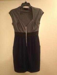 Love Culture Navy And Gray Black Zipper Mini V-neck Going Out Dress $12