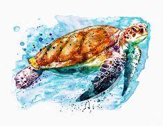 Sea Turtle Print featuring the mixed media Sea Turtle by Marian Voicu Sea Turtle Painting, Sea Turtle Art, Sea Turtles, Watercolor Animals, Watercolor Paintings, Beach Watercolor, Watercolor Ideas, Watercolors, Sea Life Art