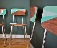 Vintage Retro Formica Chairs Revived with Paint. Love the coral, mint green, and aqua blue geometric pattern. From Mamie Boude (DIY instructions are in French).