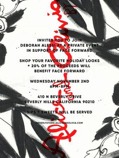 Shop for a cause at Alice and Olivia Beverly!  On Wednesday, November 2 from 6 to 8 PM, join us for an evening of sweets, sips and shopping in support of an amazing charity, Face Forward.  20% of proceeds will go to benefit Face Forward survivors. You can learn more about this wonderful charity at http://www.faceforwardla.org/.  Alice and Olivia Beverly is located at: 410 N Beverly Dr. Beverly Hills, CA 90210  You can RSVP to: beverlystore@aliceandolivia.com.