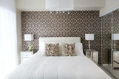 LUX-design-bedroom-neutrals-mirror-white-wallpaper-accent-wall