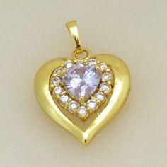 18K031-18 karat Gold plated Heart shaped pendant embedded with Light Purple and clear cubic zirconia stones  http://www.craftandjewel.com/servlet/the-800/18K031-dsh-18-karat-Gold-plated/Detail