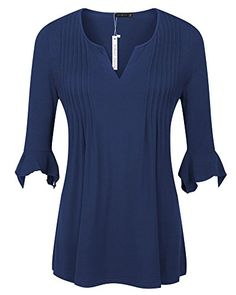 5a795956fe3a9 Simier Fariry Womens Tops V Neck Pleated Slimming Tunic Shirt Navy Blue L