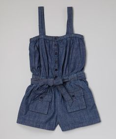 Blue Belted Button-Up Denim Romper - Toddler & Girls | Daily deals for moms, babies and kids