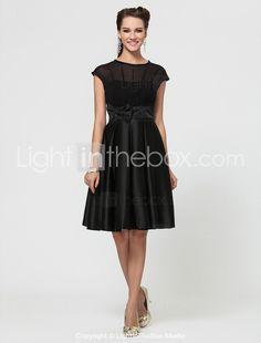 A-line Jewel Knee-length Chiffon And Satin Bridesmaid Dress With Bow(s) - USD $ 99.99