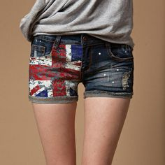 Union Jack Print Shorts for Women