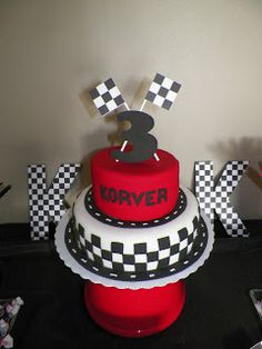 Race car themed first birthday cake Peggy Does Cake Cakes