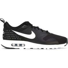 Nike Air Max Tavas Sneakers ($125) ❤ liked on Polyvore featuring shoes, sneakers, black, black laced shoes, black trainers, almond toe shoes, nike shoes and black sneakers