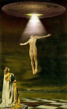 Salvador Dalí, con esta obra representa la resurrección, se ve como una persona sube al cielo con la luz y los otros dos familiares están viendo tristemente como se va.
